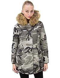 DSguided Damen Khaki Winter Parka XXL Fake Fur Kunstfell