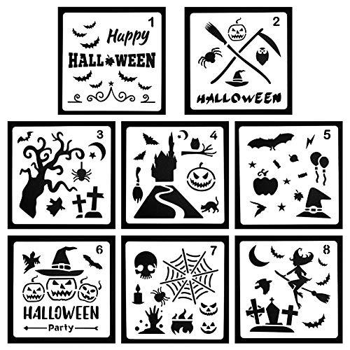 CCMART Halloween-Schablonen-Set mit 8 Schablonen – Kürbis-Muster, Fledermaus, Eule, Old Castle, Spinnennetz, Hexe, Skelett für Halloween, Dekorationskarte, DIY Zeichnen und Basteln