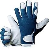 GardenersDream Leder Gartenarbeit / Arbeitshandschuhe - Mittel Bequeme Slim-Fit Premium Qualität Handschuhe - Ideal Geschenk für Männer, Frauen (Weiblich / Damen) an einem Jahrestag, Geburtstage oder Weihnachten (Tiefsee Marine)