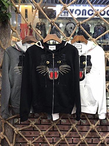 ECTIC New Donna Women Men Embroidery Leopard Zipper Jacket Hoodie Fashion Sweatshirts G28953 Black