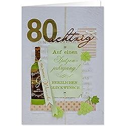 """GRUSS & CO 90224 XL handmade Grußkarte, Geburtstag, """"80 - Auf einen Spitzenjahrgang"""", 42 cm x 30 cm, mit Kuvert"""