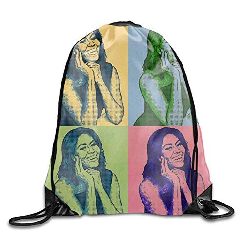 Naiyin Drawstring Backpack Gym Sack Pack Michelle Obama Color