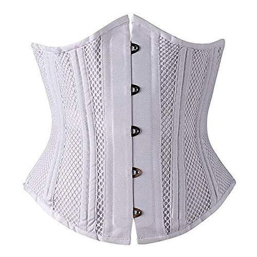 Woboren Damen Waist Training Cincher Unterbrust Korsett für Gewichtsverlust (Weiß(Mesh), 3XL) -