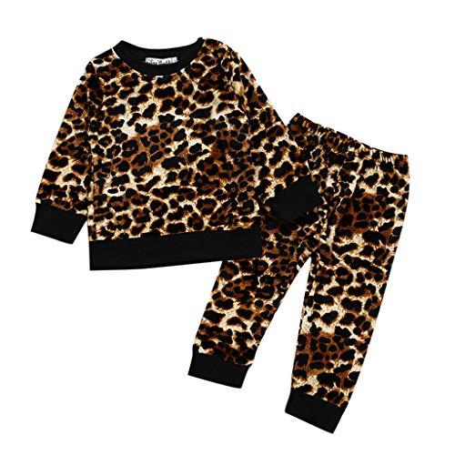 Baby Mädchen Leopard Print Tops T-Shirt Hosen Outfits Set Baby Overall Strampler Winterjacke Baby Schlupfhemd Wolle Baby Leopard Print