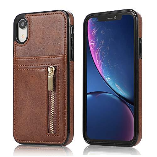 Retro-modernen Geräten (Yobby Hülle für iPhone XR,Ultra Slim Retro PU Leder Brieftasche Handyhülle mit Kartenfach Rückseite und Reißverschluss,Stoßfest Bumper Schutzhülle für iPhone XR-Braun)