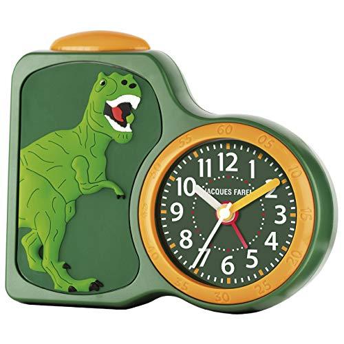 JACQUES FAREL–Despertador Infantil niño Dinosaurios Verde sin Tic TAC, con luz y repetición ACB 06dino