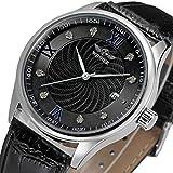 Winner Reloj para Hombres Mecánico automático Diamante-Montaje Dial 3-Pointer Correa de Cuero Genuino Negocio Cubierta Trasera Transparente Reloj para Hombres,Black