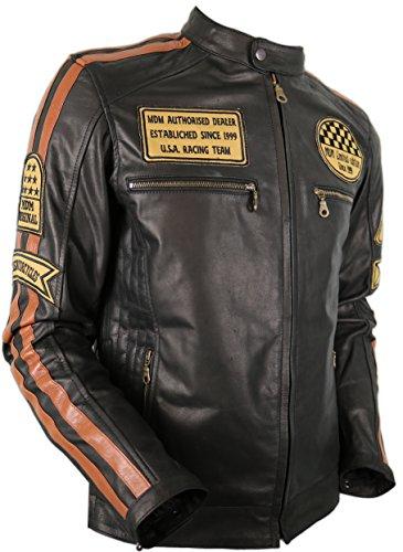Motorrad Retro Lederjacke aus echtem Leder (L)