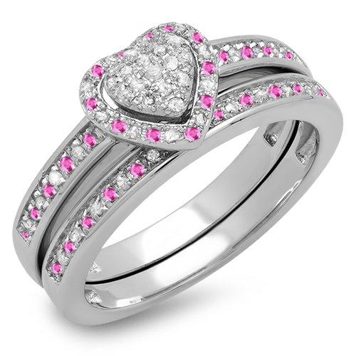 Damen Ring / Ehering 10 Karat Weißgold Rund Rosa Saphir Diamant Heart Verlobungsring Ehering Set