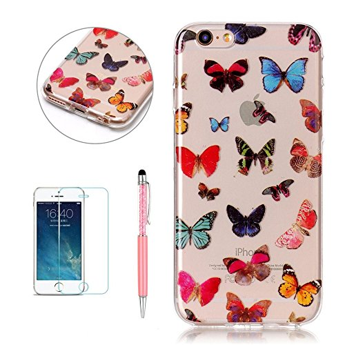 Cover Custodia per iPhone 6 Plus / iPhone 6S Plus, Hancda TPU Ultra Sottile Copertura Bumper Custodia Trasparente in Silicone Antiurto Resistente Colorate Gomma Gel Case Antishock Morbida Cassa Cover  Farfalla colorate