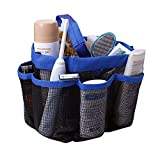Cartshopper Quick Dry Hanging Toiletry and Bath Organizer with 8 Storage Compartments, Shower Tote, Mesh Shower Caddy, Perfect Dorm, Gym, Camp & Travel Tote Bag, Black-Blue