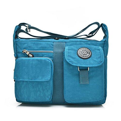 Outreo Messenger Bag Designer Umhängetasche Mädchen Taschen Schultertasche Handtasche Wasserdichte Kuriertasche Damen Sporttasche Reisetasche für Strandtasche Nylon Blau