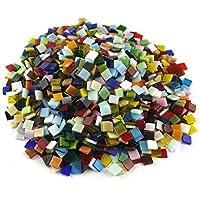 SINBLUE 500 piezas colores mezclados vitrificados azulejos de mosaico de cristal para manualidades DIY fabricación de mosaico y decoración del hogar – 0,4 x 0,4 pulgadas, 300 g
