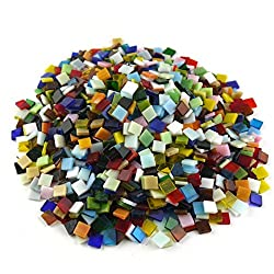 SINBLUE 500 Pieces Mixed Color Vitreous Glass Mosaic Tiles For DIY Crafts Mosaic Making and Home Decoration - 0.4 by 0.4 inches,300 g