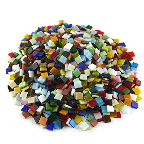 Sinblue 500 Stück Glasmosaik-Fliesen, gemischte Farben, für eigene Mosaik-Herstellung und Heimdekoration - 1 x 1 cm, 300 g