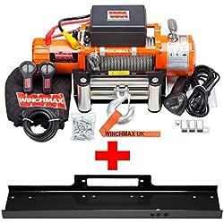 Winchmax - Verricello elettrico per il soccorso stradale e i fuoristrada, 12V, capacità di traino: 6123kg, include piastra di montaggio