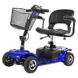 ACEDA Älterer Roller,Elektromobil,Faltbarer Elektrischer Roller, Behindertes Älteres Vierrädriges Elektrofahrzeug,Elektroroller,Belastbarkeit 100Kg,Blue