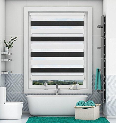 Doppelrollo Klemmfix ohne Bohren Schwarz-Weiß 90x150cm Duo Rollo mit Klämmträgern Sicht und Sonnenschutz für Fenster und Türen