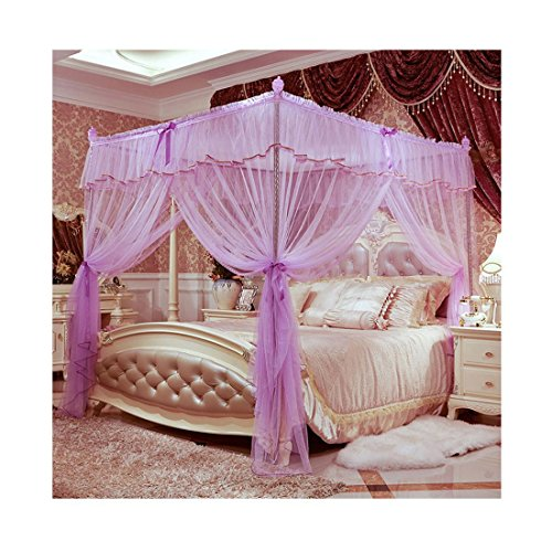 hengfey Betthimmel Moskitonetz 3Öffnungen Schlafzimmer Netz Prinzessin, violett, Queen