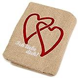 Abc Casa beige Handtuch mit Herzen Ich Liebe Dich-romantische Geschenke zum Geburtstag, Jahrestag, Hochzeitstag, Valentinstag, Muttertag, Vatertag für männer oder für Frauen