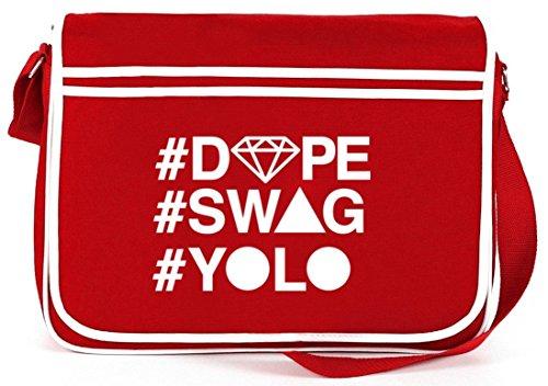 Shirtstreet24, DOPE SWAG YOLO, Retro Messenger Bag Kuriertasche Umhängetasche Rot