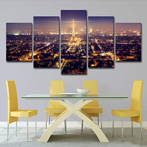 ASQWDC Große Leinwand Home Decor Wandbild Wand Drucken Wohnzimmer Schlafzimmer Wanddekoration 5 Moderne Landschaft Kunst Eiffelturm bei Nacht,Painting,S