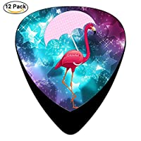 Classic Flamingo Umbrella Design Guitar Picks (12 Pack,) for Electric Guitar, Acoustic Guitar, Mandolin, and Bass/Black