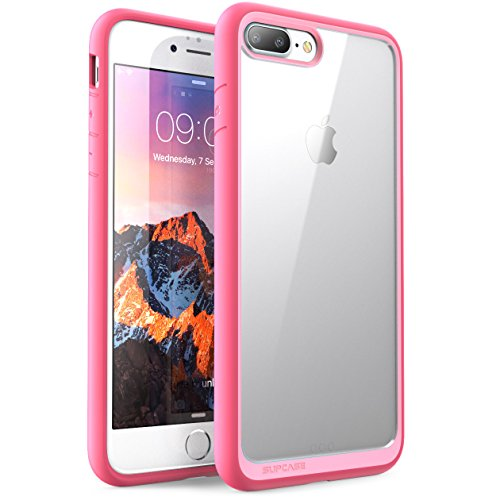 Custodia iphone 8 plus iphone 7 plus, supcase - cover antiurto [shock absorbing] angoli rinforzati - pannello posteriore trasparente - bumper (rosa)