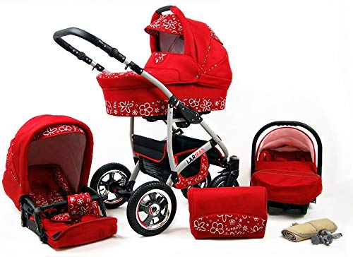 Lux4Kids 3 in 1 Combi pram Pushchair Stroller Complete Set with car seat Isofix Larmax Red Flowers 4in1 car seat +Isofix Lux4Kids Lux4Kids 4in1 or 3in1 or 2in1 pushchair. You have the choice whether you need a car seat (baby seat certified according to ECE R 44/04 or not). Of course, the Pram is stabil, safe and durable Certificate EN 1888:2004 Of course, the baby Basket has a rocking function when it is removed from the pram. The push handle adapts to your size and fits for everyone 1