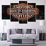 Impressions sur Toile Accueil Salon Art Mural 5 Panneau Affiche de Photos de Signe de Harley Davidson Décoration des Photos HD Imprimé (A: encadré B: Pas de Cadre),A,30×50×2+30×70×2+30×80×1
