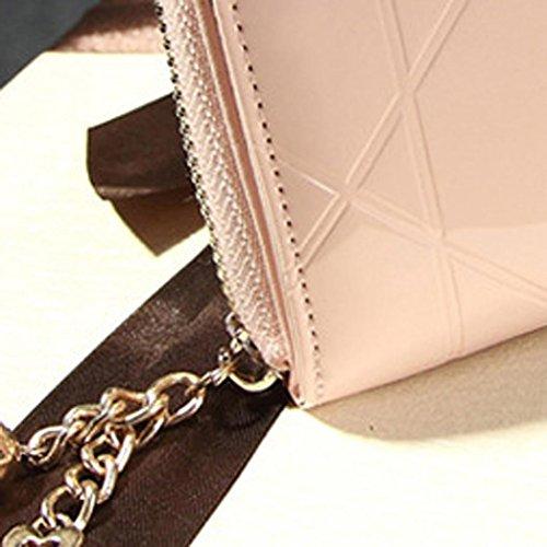 Portafoglio Donna, DDLBiz® Donna piccola borsa in pelle frizione portafoglio cerniera corto della carta sacchetto del supporto (rosa caldo) rosa