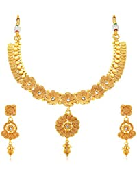 Sukkhi Stunning Jalebi Gold Plated Collar Necklace Set For Women