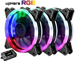 upHere RGB LED Ventilateur de Boitier 120mm pour Boîtiers PC- avec télécommande- 3 Pack(RGB123-3)