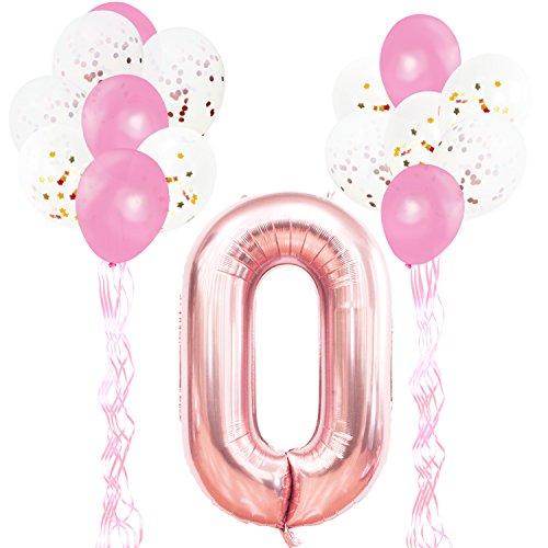KUNGYO Decoraciones de Fiesta de Cumpleaños para Adultos y Niños, Oro Rosa Gigante Número 0 y Estrella de Helio Globos, Cintas, Globos de Confeti de Látex- Rose Gold Suministros de Fiesta