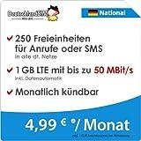 DeutschlandSIM LTE 750 National [SIM, Micro-SIM und Nano-SIM] monatlich kündbar (1 GB LTE mit max. 50 MBit/s inkl. Datenautomatik, 250 Freieinheiten für Anrufe oder SMS, 4,99 Euro/Monat) preiswert
