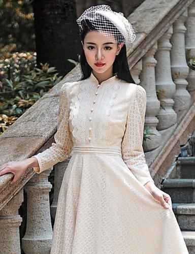 PU&PU Robe Aux femmes Swing Vintage , Couleur Pleine Mao Midi Coton / Polyester / Mousseline de soie / Dentelle yellow-xl