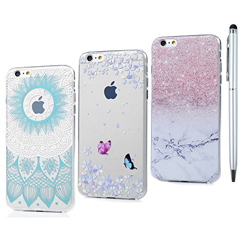3x Coque iphone 6 iphone 6S Transparente Étui Housse Silicone Gel TPU Antichoc Résistant Slim Case Cover Flip Original Portable Protection pour iphone 6 6S - Totem * Papillon et Fleur * Marbre Blue Totem Flower Gradient * Papillon et Fleur * Marbre
