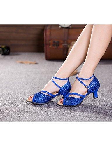 ShangYi Scarpe da ballo - Non personalizzabile - Donna - Latinoamericano - Tacco cubano - Eco-pelle / Glitter / Paillettes / sintetico -Blu / Oro Gold