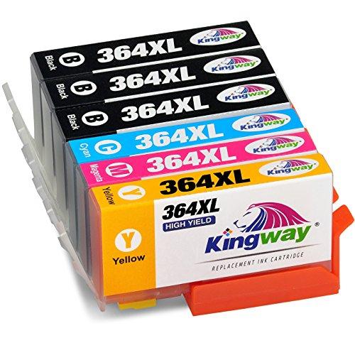 6k Toner Cyan (Kingway 364XL Ersatz für HP 364XL 364 Druckerpatronen 6 Pack (3 Schwarz, 1 Cyan, 1 Magenta, 1 Gelb) kompatibel mit HP Photosmart 5520 B110a 7520 5510 5515 6510 6520 7510 5522 B010a C6380 C410b C310a C309g Deskjet 3522 3070A Officejet 4620)