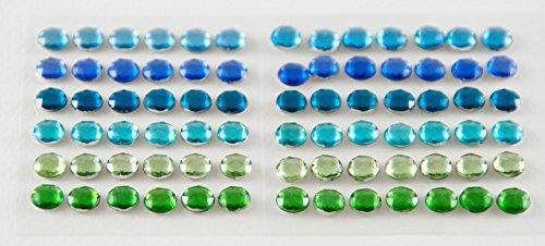 Preisvergleich Produktbild Smoobee Emerald Green Blue Beautiful Gem Stickers Aufkleber for Customizing The No Cry Hairbrush Haarbürste - 72 pieces