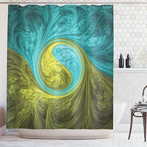 ABAKUHAUS Spirale Tenda da Doccia, Zen Orientale Disegno Spirale Psichedelico Figura Solare Motivo Etnico Asiatico, Repellente AcquaBatteri, 175 x 200 cm, Kaki
