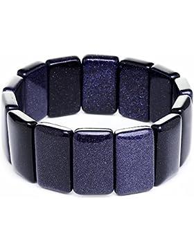 Armband aus echtem Blaufluss blau violett dunkel dehnbar massiv Armschmuck