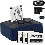 4x Batterie + Double Chargeur (USB/Auto/Secteur) pour NP-BY1 NPBY1 // Sony HD Action Cam Mini AZ1 avec Wi-Fi / HDR-AZ1 (KIT), HDR-AZ1VR