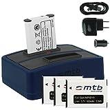 4x Batteria + Caricabatteria doppio (USB/Auto/Corrente) per NP-BY1 NPBY1 // Sony HD Action Cam Mini AZ1 mit Wi-Fi / HDR-AZ1 (KIT), HDR-AZ1VR