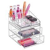 mDesign Organizer per cosmetici impilabile per toeletta e bagno – Portatrucchi con 2 cassetti in plastica – Porta trucchi componibile con 15 scomparti – trasparente