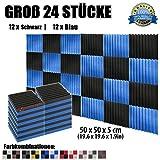 Super Dash (24 Stück) von 50 X 50 X 5 cm Schwarz & Blau Keil Akustikschaumstoff Noppenschaumstoff Akustik Dämmmatte Schallisolierung Schaumstoff Polster Fliesen SD1134 (SCHWARZ & BLAU)