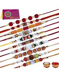 Tonkwalas Multicolor Combo of 10 Dora Rakhi Set for Men with Roli Chawal Best Wishes