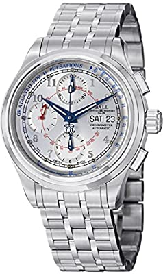 Ball Men's CM1010D-SCJ-WH Trainmaster Analog Display Swiss Automatic Silver Watch