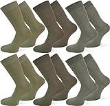 normani 6 Paar Qualitäts Socken ohne Gummidruck mit 95% Baumwolle und 5% Elasthan/handgekettelt Farbe Oliv/Jagdgrün/Grün Größe 43-46