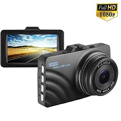 Dash Cam 1080p Dashboard Kamera Recorder mit WDR, 140° Weitwinkel, Nachtsicht, G-Sensor, Loop Recording, Parkplatz Monitor